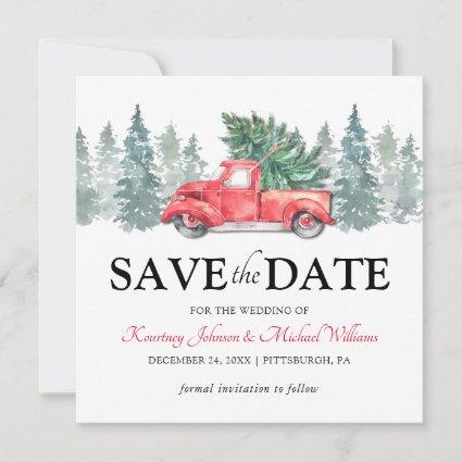 Red Truck Christmas Wedding Save the Date