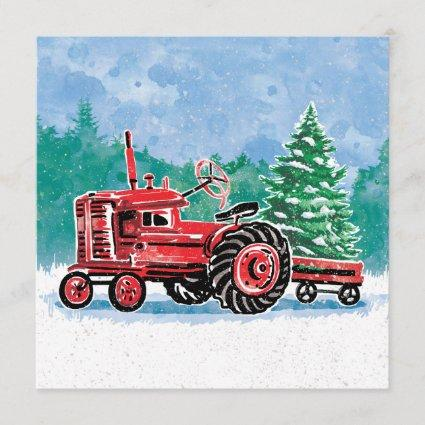Red Vintage Tractor Christmas Tree Save the Date