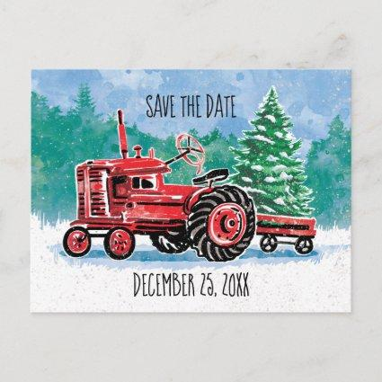 Red Vintage Tractor Christmas Tree Save the Date Announcement