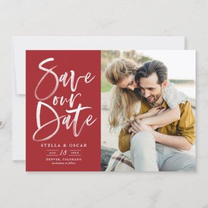 Red Watercolor Brush Calligraphy Photo Save The Date