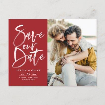 Red Watercolor Brush Calligraphy Save Our Date Announcement