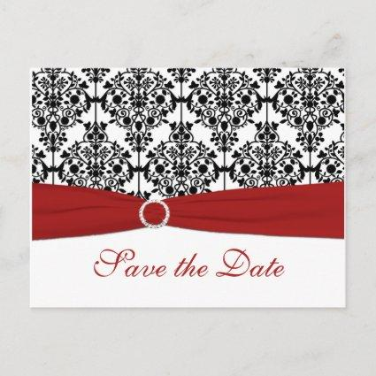 Red, White, and Black Save the Date Cards