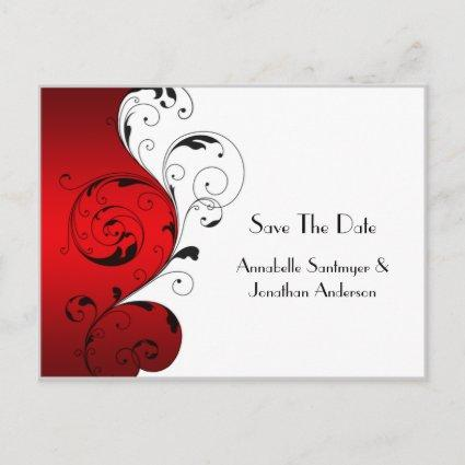 Red White Black Swirls Save The Date Announcements Cards