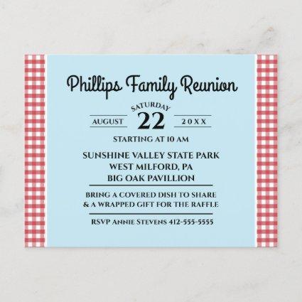 Red & White Checked Tablecloth Blue Family Reunion Invitation