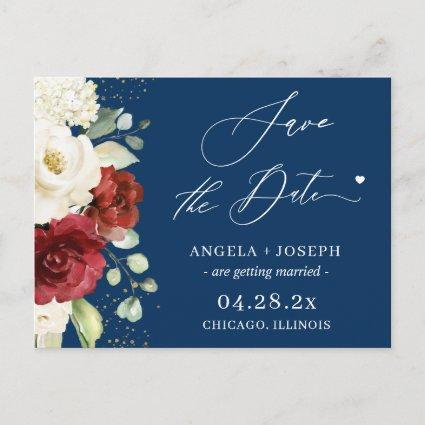 Red White Floral Navy Blue Wedding