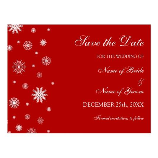 Red White Save the Date Winter Wedding
