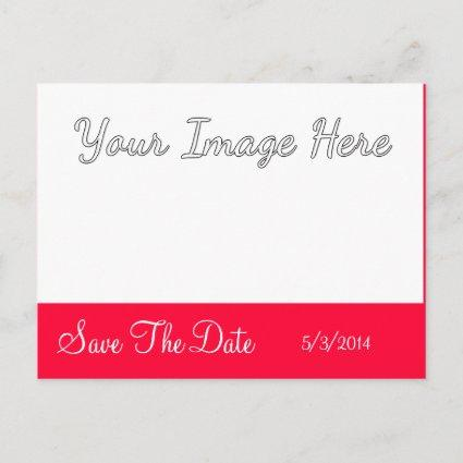 Red White Script Wedding Save The Date Cards