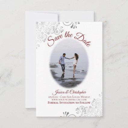 Red & White Simple Elegant Wedding Oval Photo Save The Date