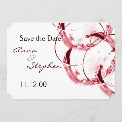 Red wine glasses save the date