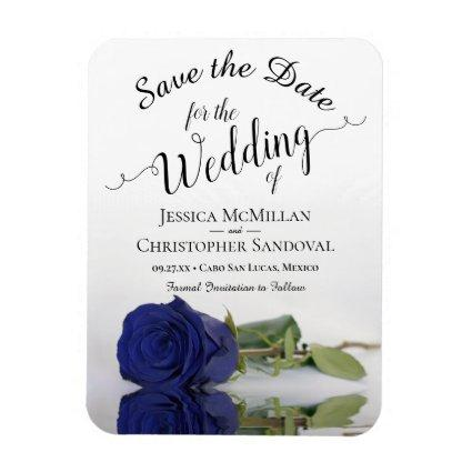 Reflecting Navy Blue Rose Wedding Save the Date Magnet