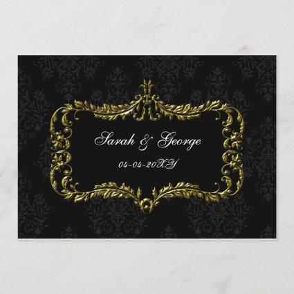 regal flourish black and gold damask save the date