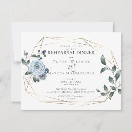 Rehearsal Dinner   |  Watercolor Dusty Blue Floral Save The Date