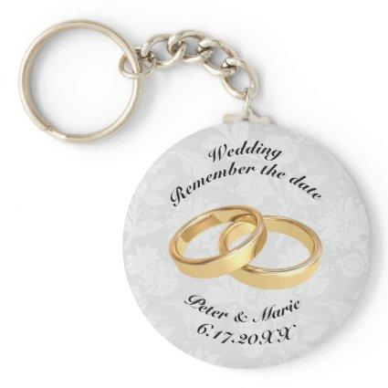 Remember The Date Wedding Rings Keychain