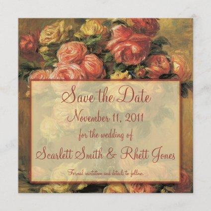 Renoir Roses Wedding Save the Date Notice