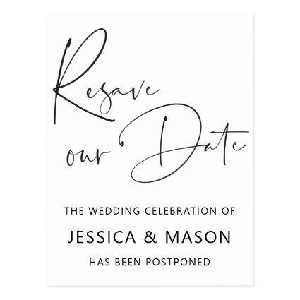 Resave The Date Postponed Wedding Announcement
