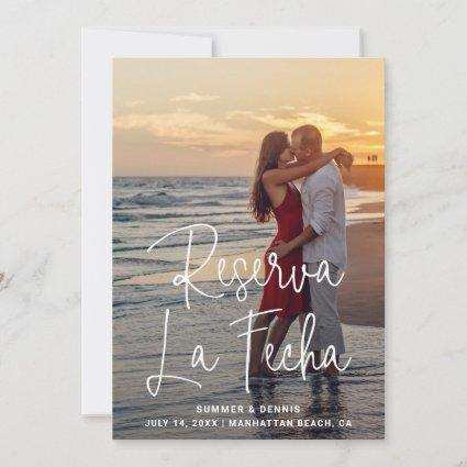 Reserva la Fecha Elegant Thin Script Photo Spanish Save The Date