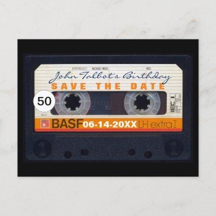 Retro Audiotape 50th birthday Save the date PostC Announcement