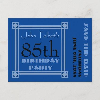 Retro Blue 85th birthday Party Save the Date P Announcements Cards
