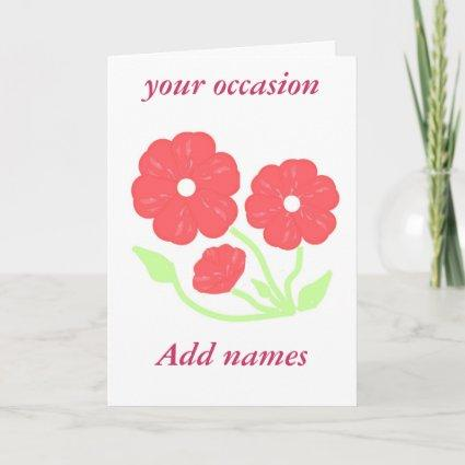 Retro Floral Pink  add text  Stationary Note Card