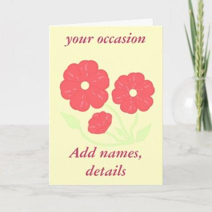 Retro Floral Pink  on cream add text  Stationary Note Card