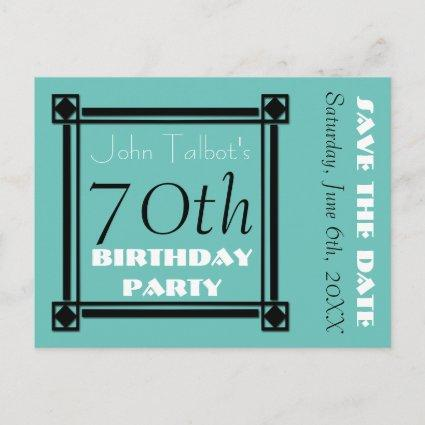 Retro Frame 70th birthday Party Save the Date Announcements Cards