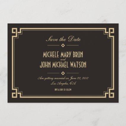 Retro Frame Art Deco Dark Save the Date Card