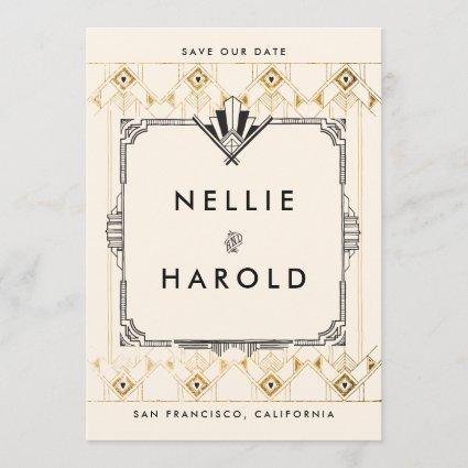 Retro Great Gatsby Art Deco Photo Save the Dates Save The Date