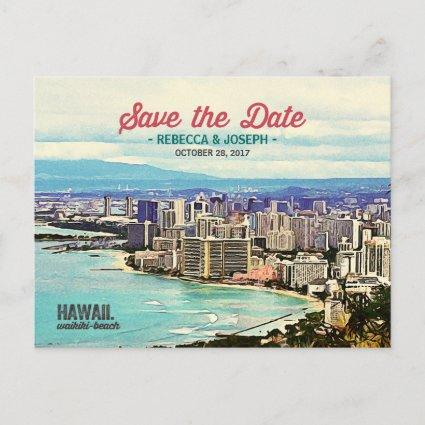 Retro Hawaii Waikiki Beach Photo Save the Date Announcement
