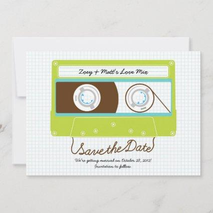 Retro Indie Mixtape Wedding Blue / Lime Green Save The Date