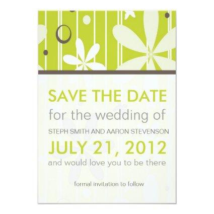 Retro Lime and Gray Floral Save The Date Card
