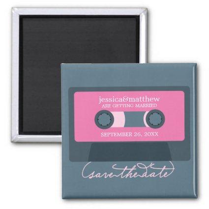 Retro Mixtape Wedding Save the Date Magnets