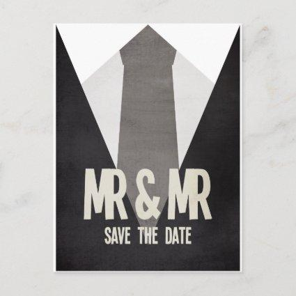 Retro Mr & Mr Suit Tie Gay Save the Date Cards