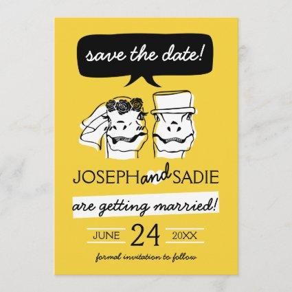 Retro Raptor Save the Date Card