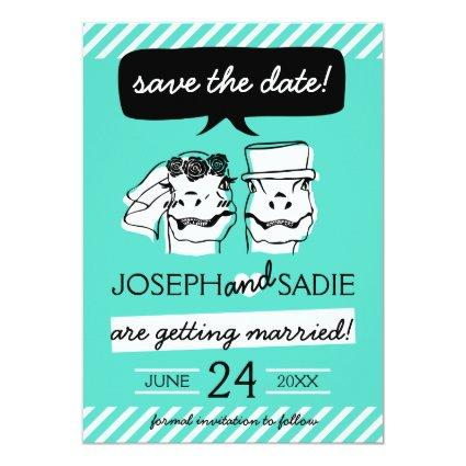 Retro Raptor Save the Date Card (stripes)