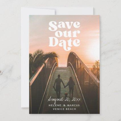 Retro Save our Date Photo Holiday Card