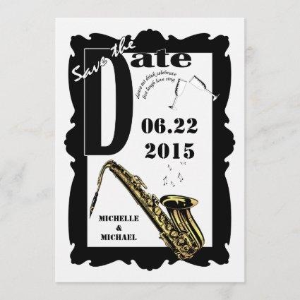 Retro Style Jazz Save the Date Black White 3