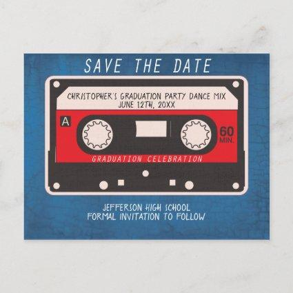 Retro Tape Song Mix Graduation Party Save The Date Announcements Cards