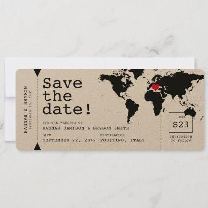Retro Typewriter World Map Boarding Pass Ticket Save The Date