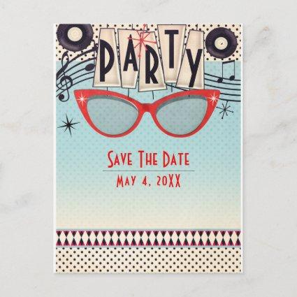 Retro Vintage 1950's Fifties Party Save the Date Announcement