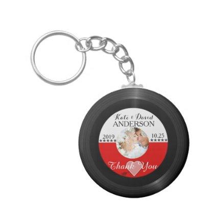 Retro Vinyl Record Photo Wedding Favor Thank You Keychain