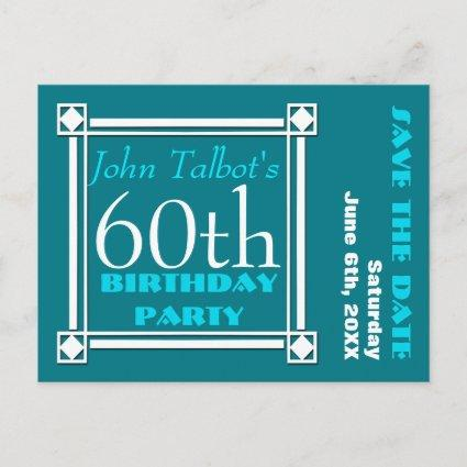 Retro W 60th birthday Party Save the date Announcement