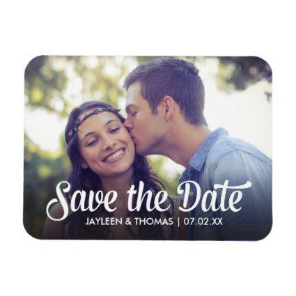 Retro White Script Save The Date Full Bleed Magnets