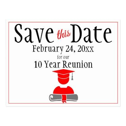 Reunion Class Save The Date Minimalist Red Gray