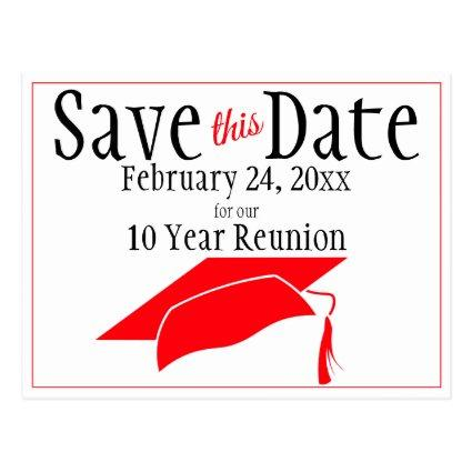 Reunion Class Save The Date Red Graduation Cap