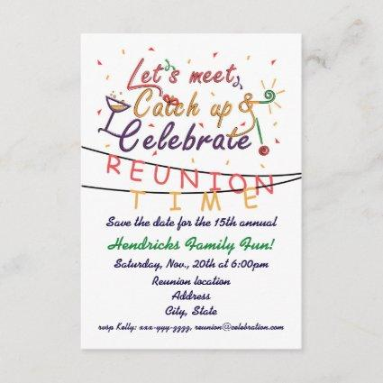 Reunion design for families, school mates, peers save the date