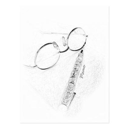 Reunion or Hello Fountain Pen and Glasses Sketch