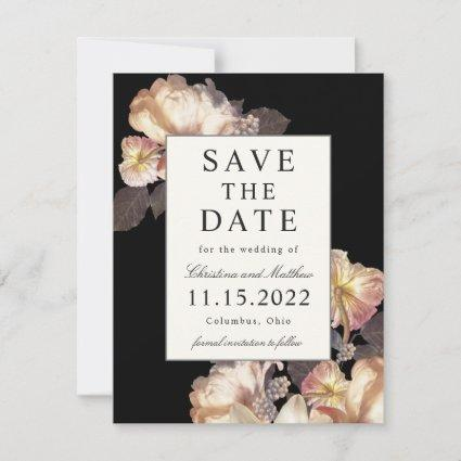 Rich Moody Floral Save The Date with Photo on Back
