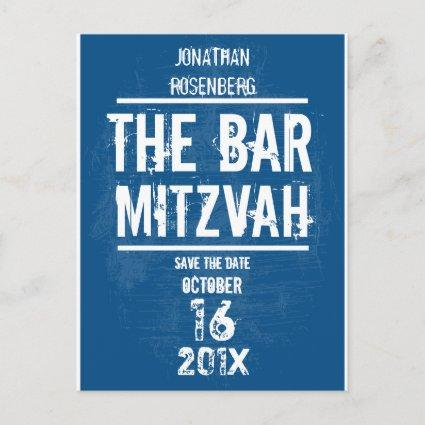 Rock Band Bar Mitzvah Save the Date All Type, Blue Announcement