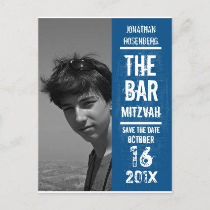Rock Band Bar Mitzvah Save the Date in Blue Announcement