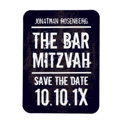 Rock Band Bar Mitzvah Save the Date Magnet, Black Magnet